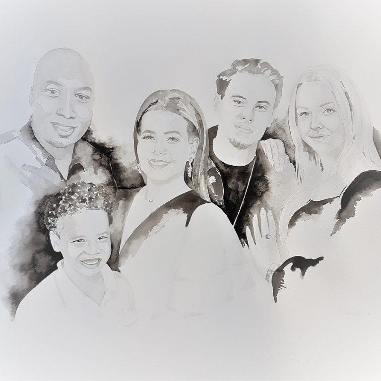 familieportret met twee kinderen, 2 schoonkinderen en 1 kleinkind