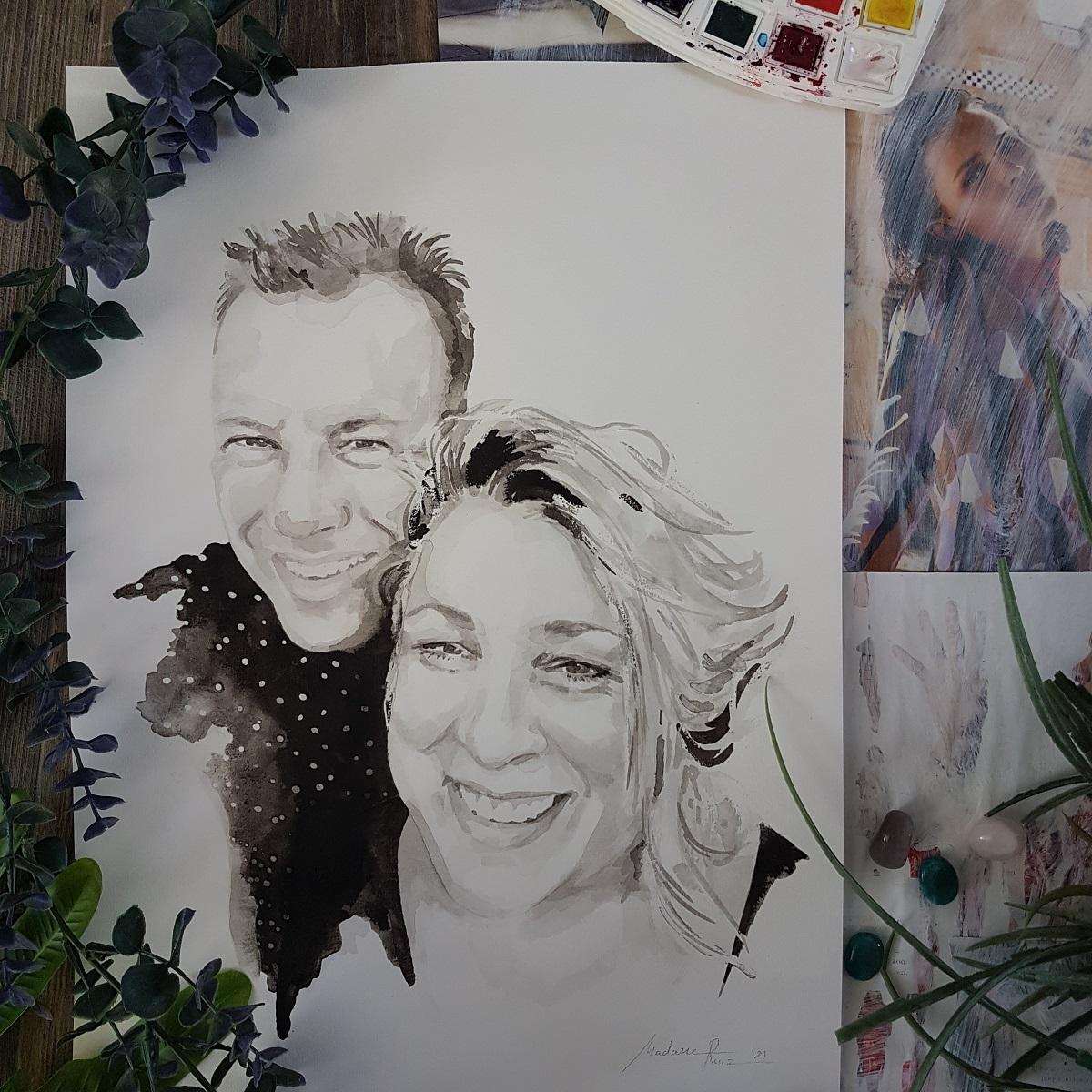 liefdesportret Aafke en Wilco contrastrijk inkt portret