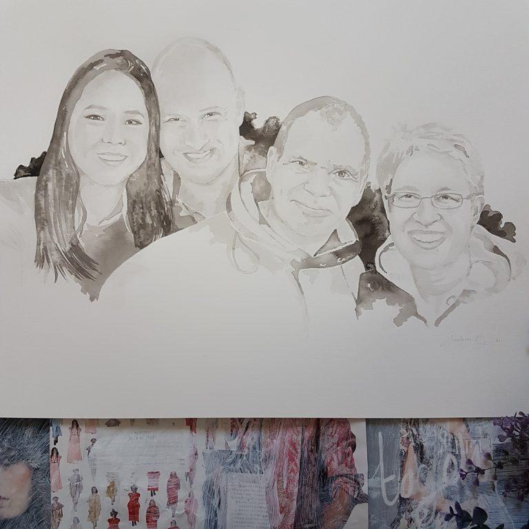 familieportret met dochter en schoonzoon inkt portret
