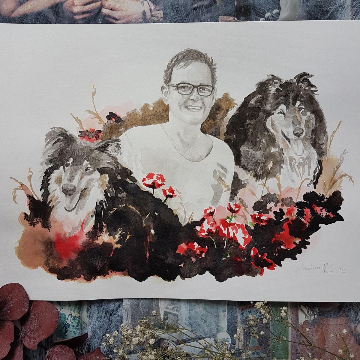 herdenkingsportret man met zijn twee honden