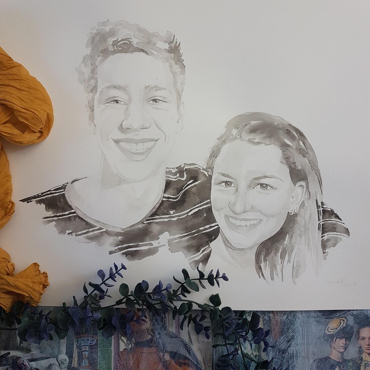 inkt portret van een broer en zus