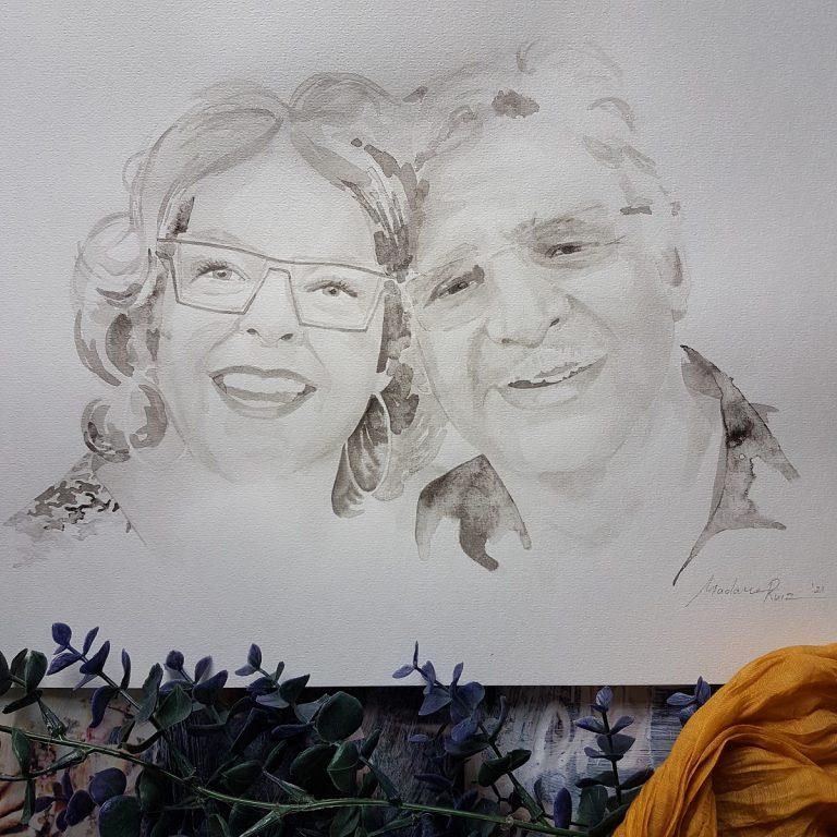 liefdesportret man en vrouw inktportret