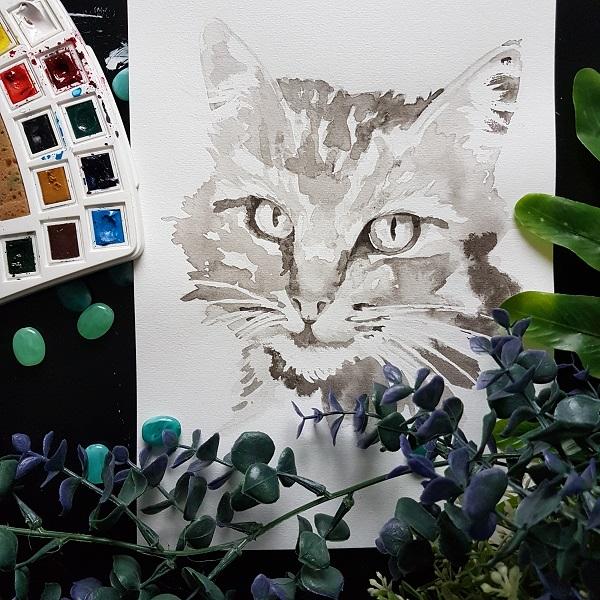 kattenportret inktportret