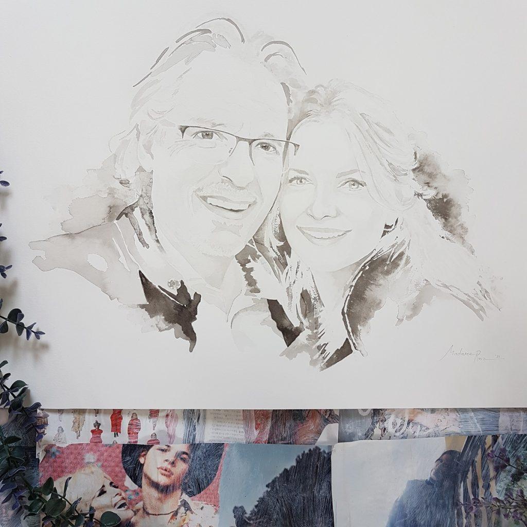 inktportret liefdes portret van Frans en Lesya