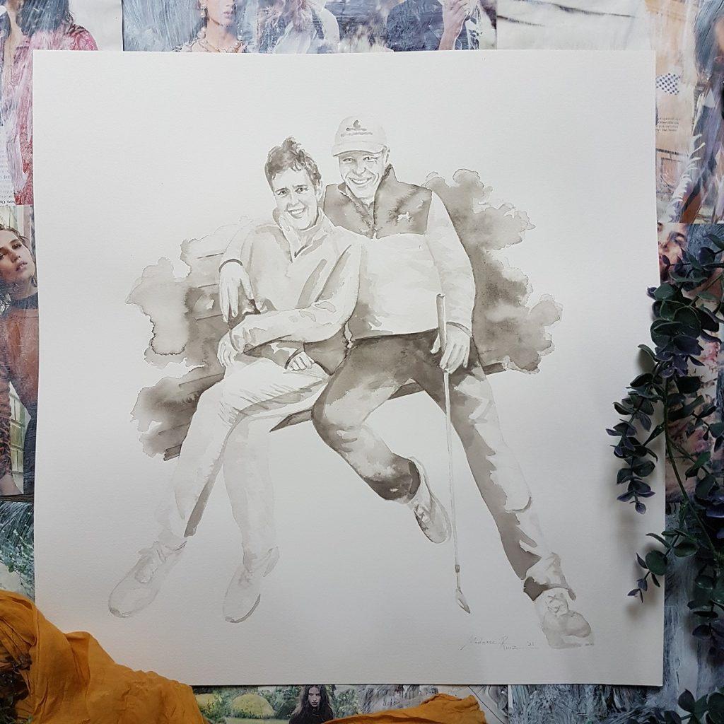 liefdesportret inkt portret man vrouw ten voeten uit op een bankje