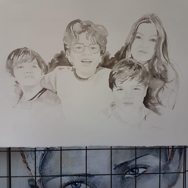 familieportret gezinsportret gezin familie inkttekening persoonlijk portret in opdracht madameruiz bekend van vtwonen weer verliefd op je huis5