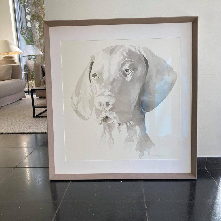honden portret inkttekening schilderij hond laten tekenen cadeau overleden hond dierenschilder omgaan met verlies huisdier 4