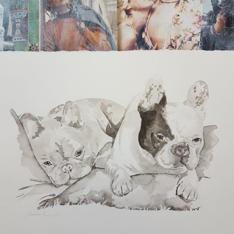 hondenportret hond honden portret inkttekening persoonlijk portret in opdracht madameruiz intkportret inktschilderij vtwonen kunstenaar huisdieren tekening