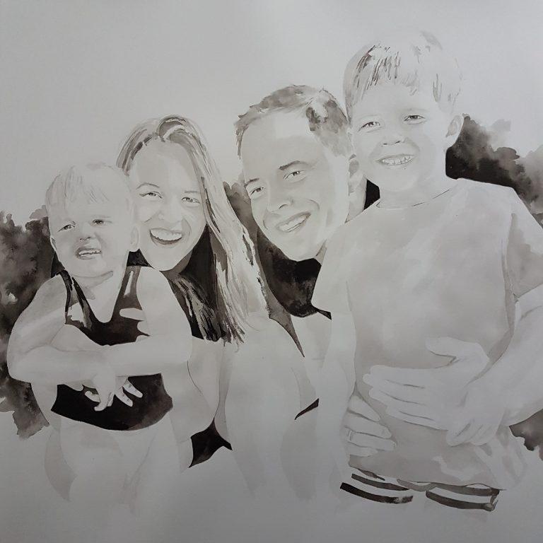 familieportret gezinsportret gezin familie inkttekening persoonlijk portret in opdracht madameruiz bekend van vtwonen weer verliefd op je huis6