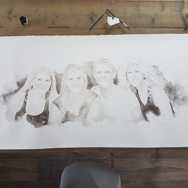 familieportret gezinsportret gezin familie inkttekening persoonlijk portret in opdracht madameruiz bekend van vtwonen weer verliefd op je huis8