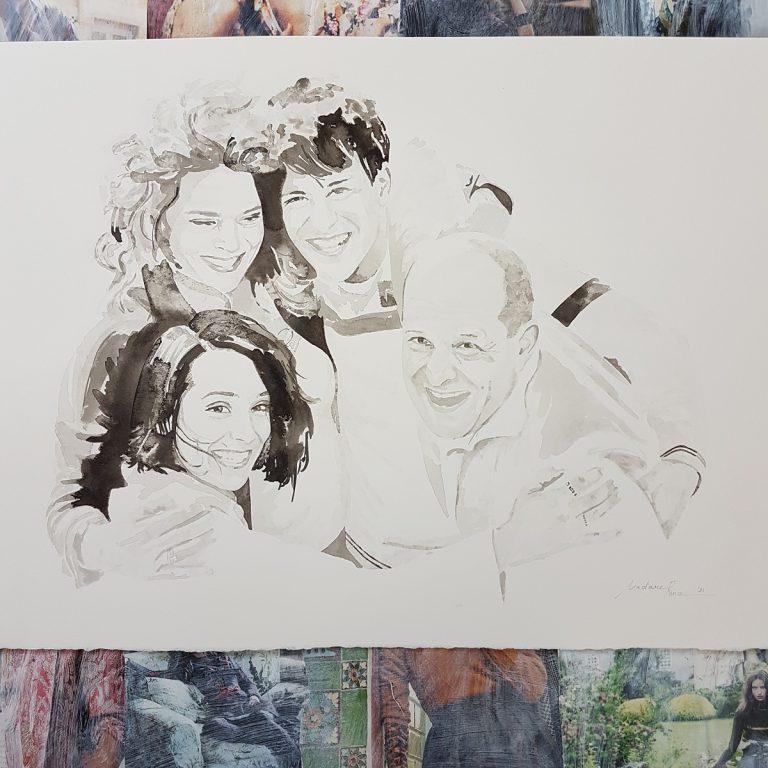 familieportret gezinsportret gezin familie inkttekening persoonlijk portret in opdracht madameruiz bekend van vtwonen weer verliefd op je huis10