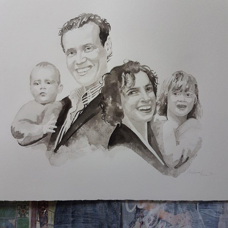 familieportret gezinsportret gezin familie inkttekening persoonlijk portret in opdracht madameruiz bekend van vtwonen weer verliefd op je huis11