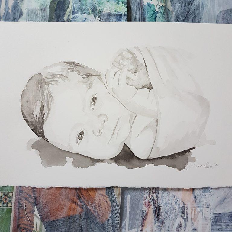 kindportret MadameRuiz gezinsportret familieportret kind dochter baby geboorteportret geboorte inkt portret