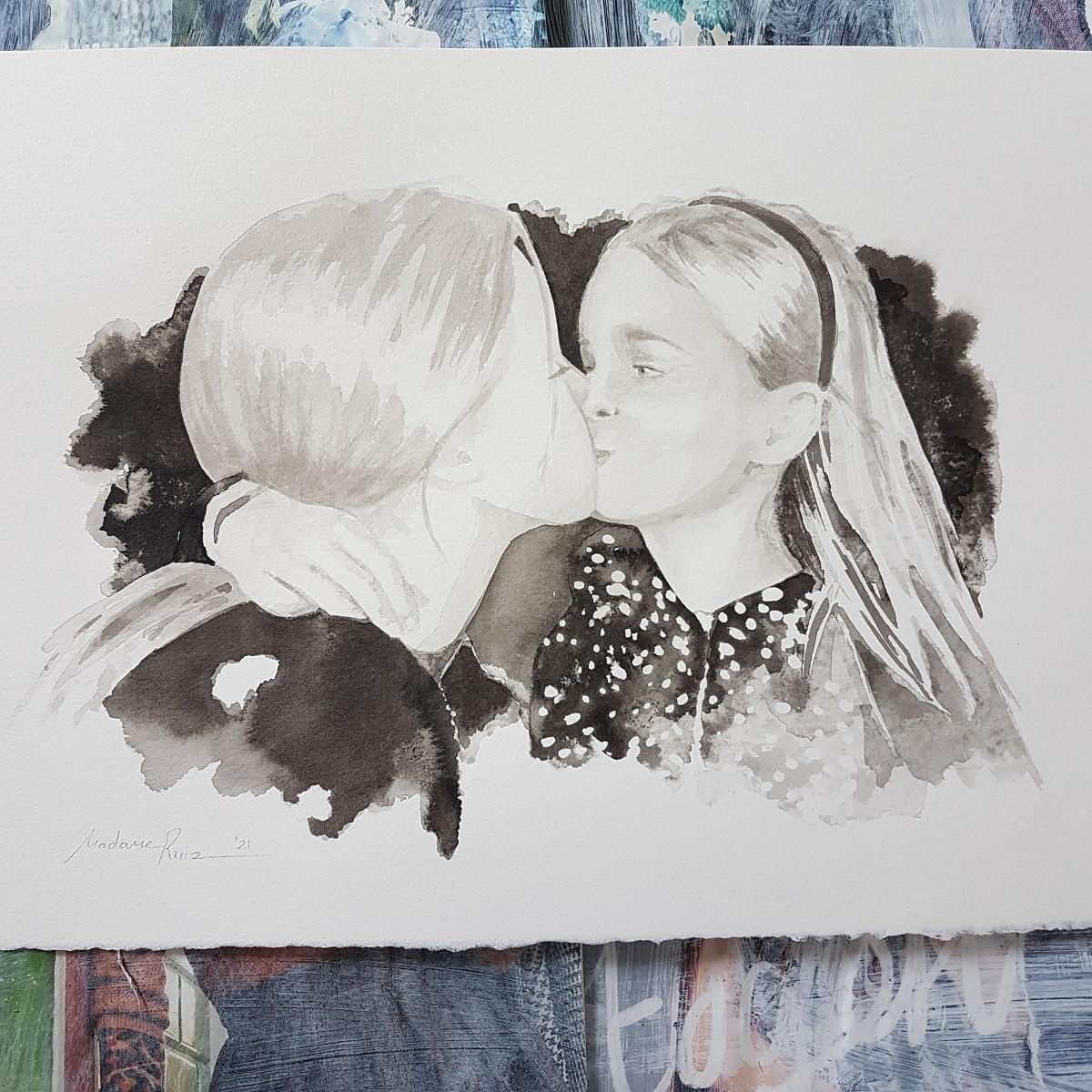 kindportret herinneringsportret herinnering zusjes liefde inkt portret MadameRuiz