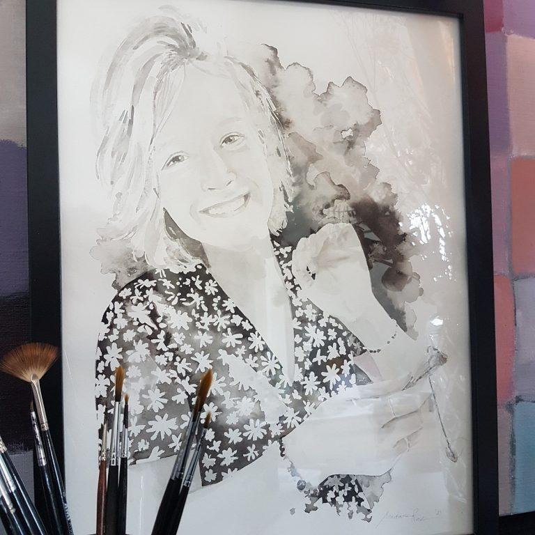 kindportret jongvolwassen geslaagd schilderij kinderen inkt portret in opdracht madameruiz bekend van vtwonen