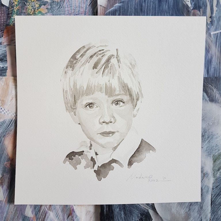 kindportret naar aanleiding van een oude foto van vroeger inkt portret 1