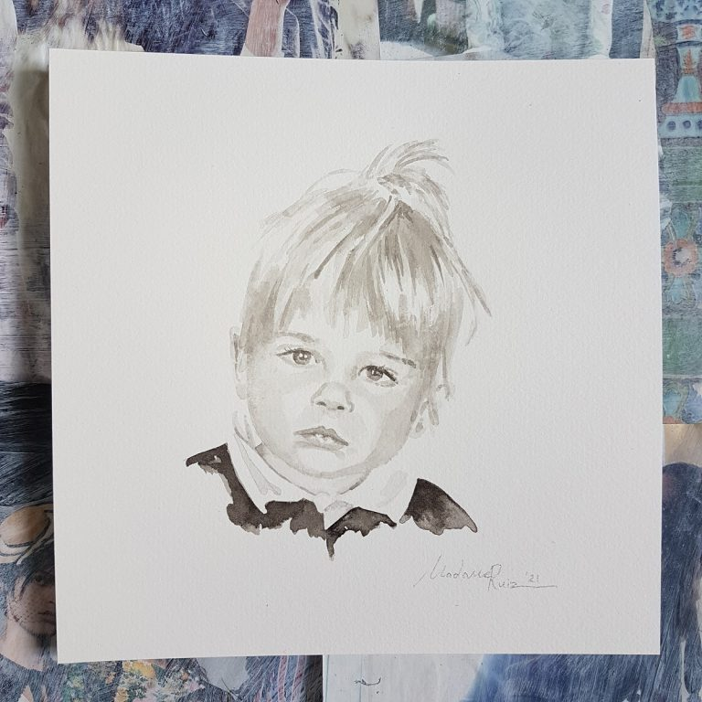 kindportret naar aanleiding van een oude foto van vroeger inkt portret 2