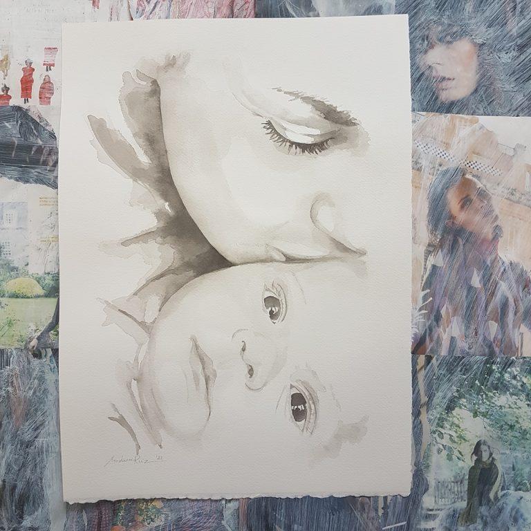 moeder kind portret familieportret vtwonen baby inkt portret MadameRuiz