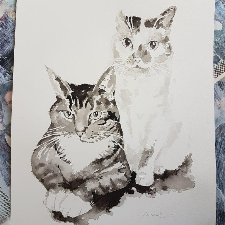 poezen inkt portret in opdracht poezenportret kattenportret poezen poes kat katten kattenliefhebber MadameRuiz 2